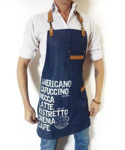 delantal jean y cuero estampado diseño café barista unisex