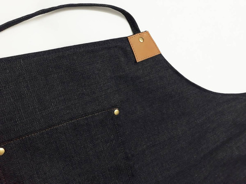 delantal jean y cuero genuino cocina barbería cervecería oficios diseño ideal para bordado o estampado