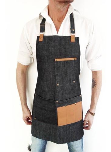 delantal jean y cuero genuino cocina barman barbería unisex
