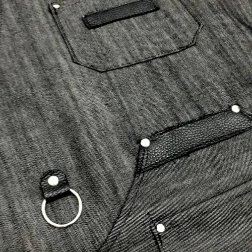 delantal jean y cuero genuino unisex ideal peluquería cocina oficios barberías hogar somos fabricantes!