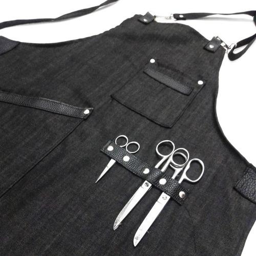 delantal jean y cuero vacuno con mosquetones barbería cocina
