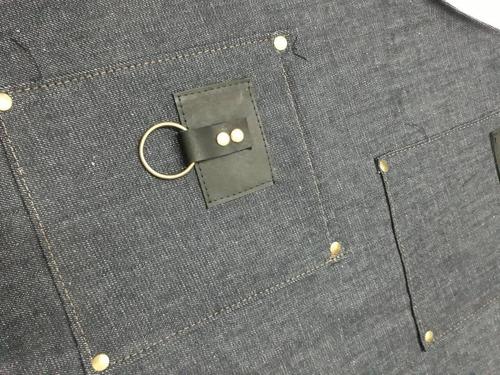 delantal jean y cuero vacuno con porta repasador o toalla