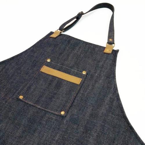 delantal jean y cuero vacuno genuino cocina barbería barman