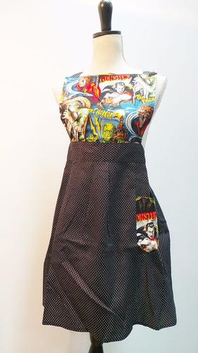 delantal unisex, diseño único, comic, algodón.