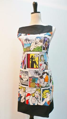delantal unisex, diseño único, comics, algódón.