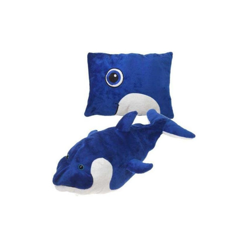 delfin transformable en almohada de peluche y felpa fiesta t