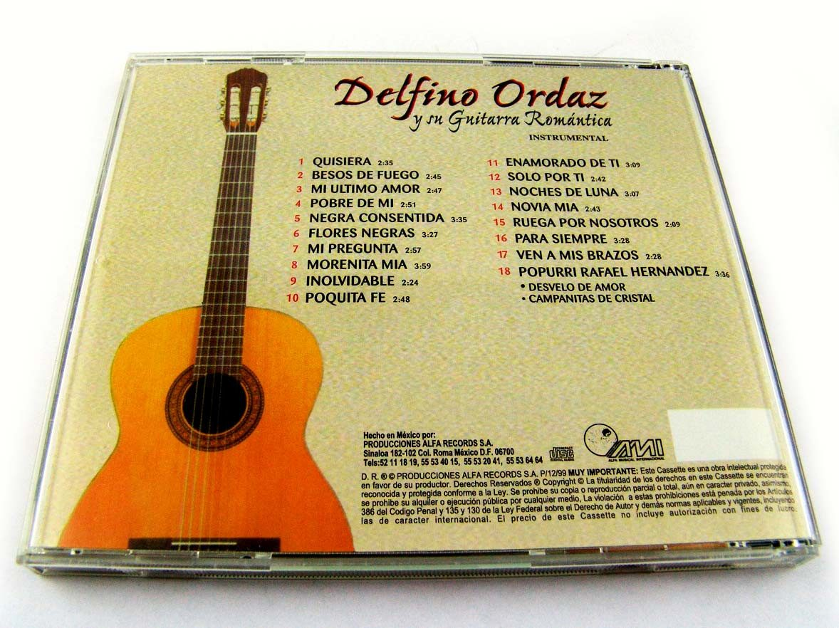 Delfino Ordaz Y Su Guitarra Romantica Cd Alfa Records 1999 - $ 349 00