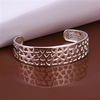 delicado bracelete em prata 925 corações vazados