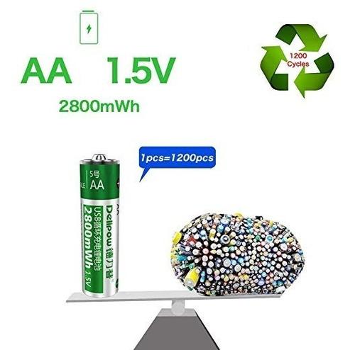 delipow pilas recargables aa, usb 1,5 v, alta capacidad 2800