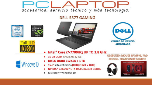 dell gamer ci7 7700hq-16 ram-1 tb + 512 ssd-4gb gtx gforce