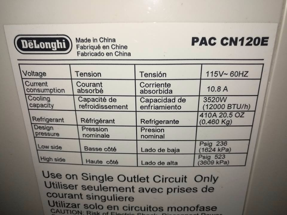 Delonghi aire acondicionado portatil 12000 btu h 7 999 for Aire acondicionado 12000 frigorias