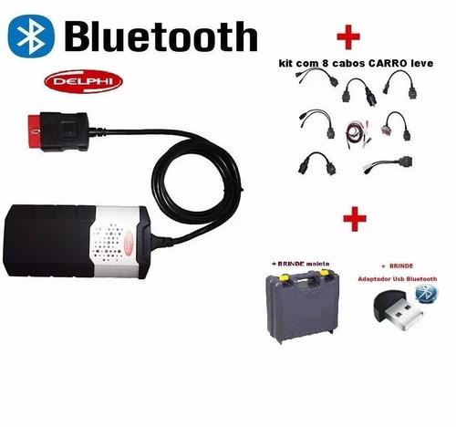 delphi scanner 2017 v.2015.3 + kit 8cabos leve carro maleta