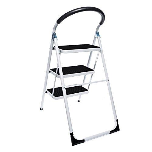 Delxo plegable 3 escalera plegable taburete de acero con for Taburete escalera cocina