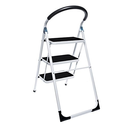 Delxo plegable 3 escalera plegable taburete de acero con for Escalera de cocina plegable