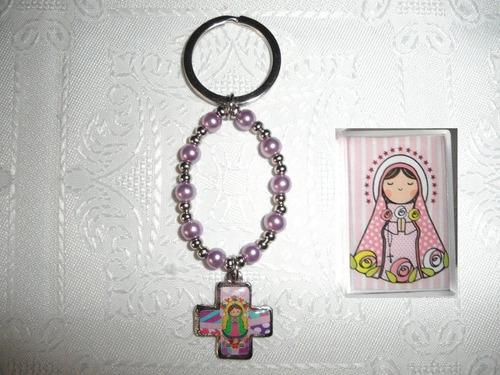 denarios virgencita plis comunion bautismo + caja c/imagen