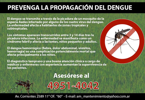 dengue -  tratamientos para mosquitos   control de plagas