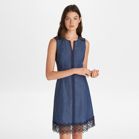 Denim Lace Fit And Flare Dress