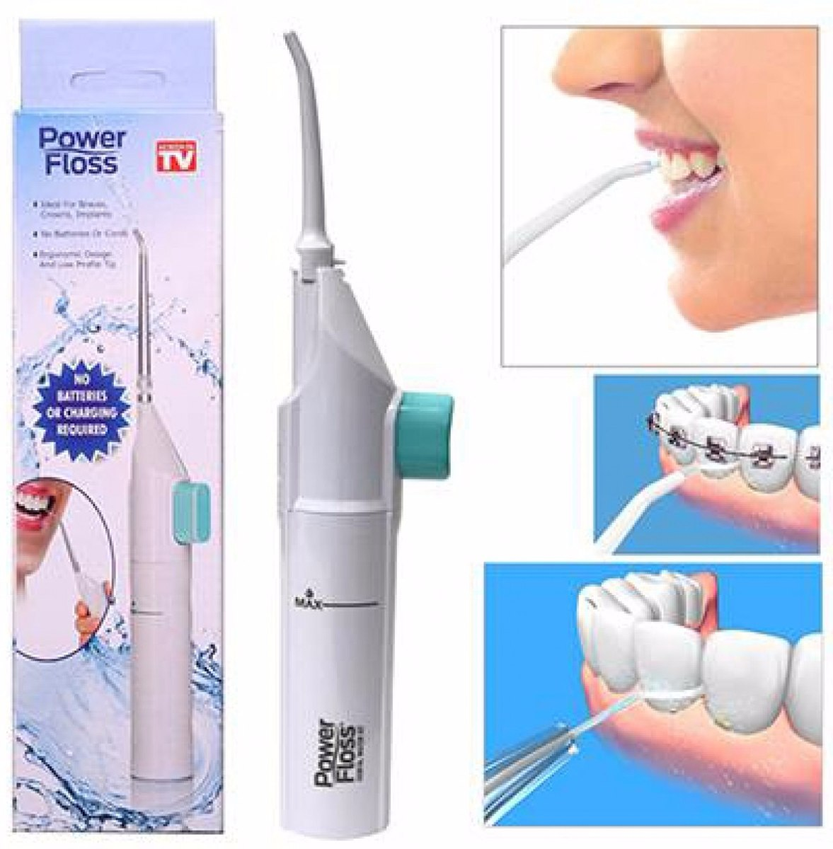 edfc9b4c6 Dental Power Floss Jato De Agua Limpeza Oral Tipo Waterpik - R  26 ...