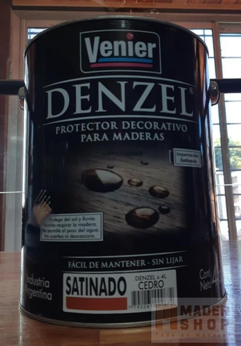 denzel protector para maderas satinado venier x 4 litros - mader shop