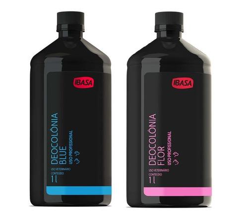 deo colônia ibasa kit 1un blue 1 l + 1un flor 1l perfume