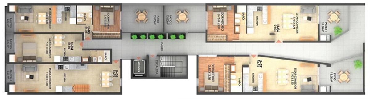 departamento 1  dormitorio con patio - rioja 3154