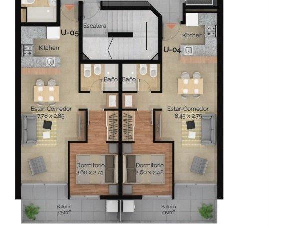 departamento 1 dormitorio - terraza exclusiva con parrillero / zona centro de rosario