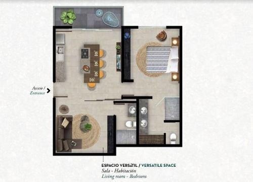 departamento 1 rec+ espacio versatil en tulum p2739