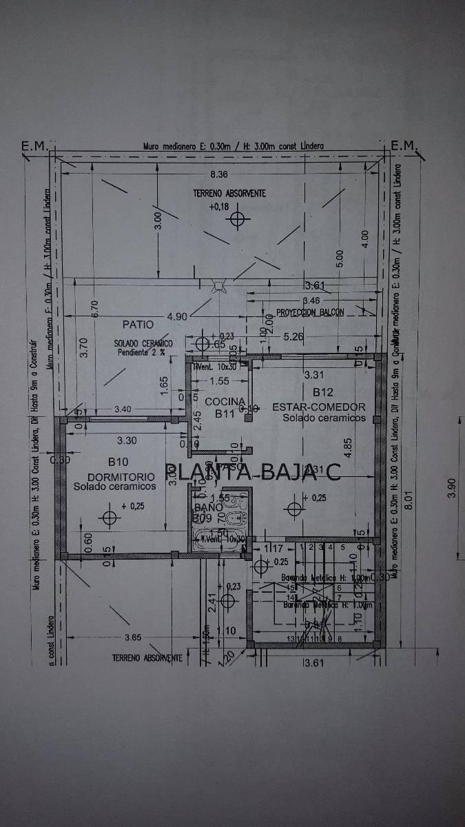 departamento 2 amb al frente con patio de 20 m2 del pozo