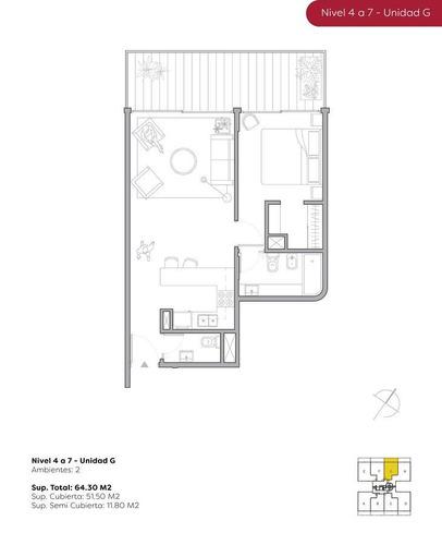 departamento 2 amb con balcon - florida