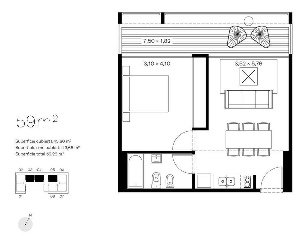 departamento 2 amb con balcón - olivos