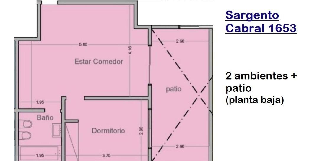 departamento 2 amb con patio privado // sargento cabral 1653