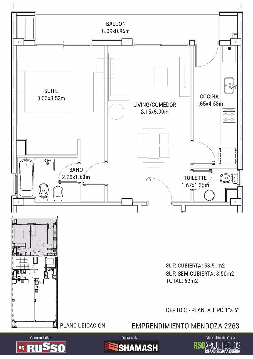 departamento - 2 ambientes - cocina independiente!
