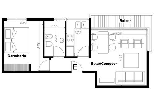 departamento 2 ambientes con balcón -  caballito
