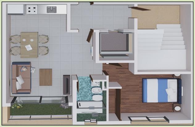 departamento 2 ambientes contrafrente con patio