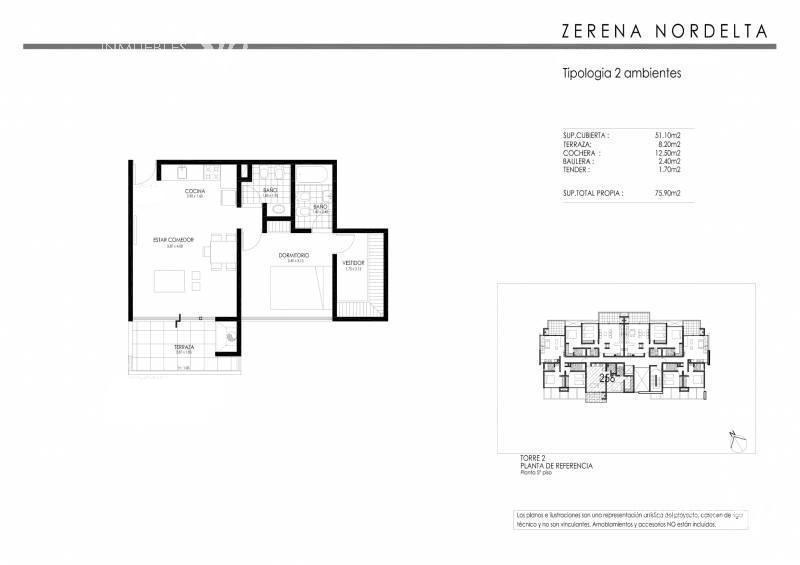 departamento 2 ambientes -edificio zerena- nordelta