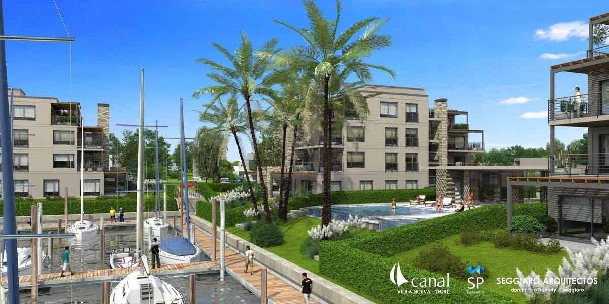 departamento 2 ambientes en barrio nautico canal, villanueva