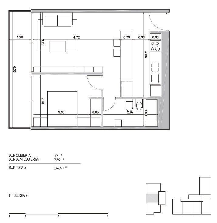 departamento 2 ambientes . san martin. cochera opcional. piso 6ºc