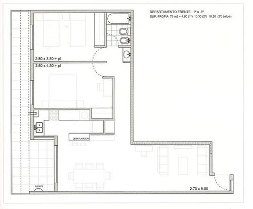 departamento 2 dormitorios - cofico
