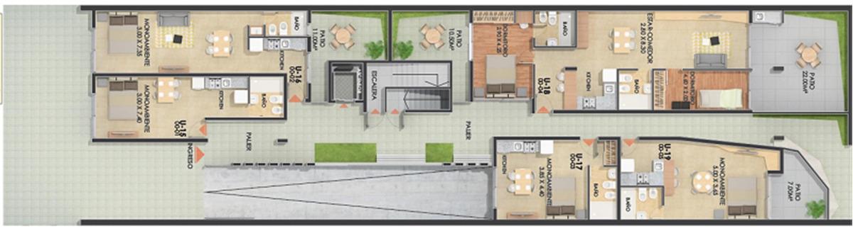 departamento 2 dormitorios duplex  vera mujica 1200