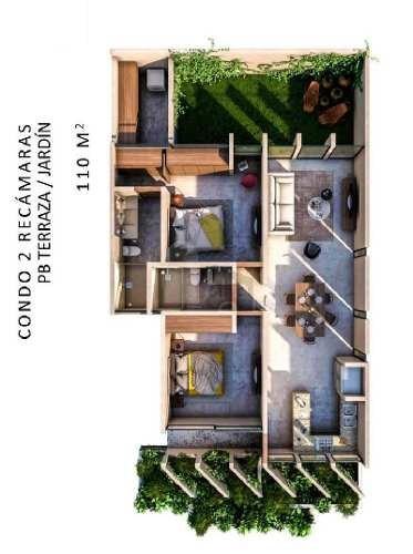 departamento 2 recamaras, con terraza/jardin, en la mejor zona de la ciudad, alta plusvalia