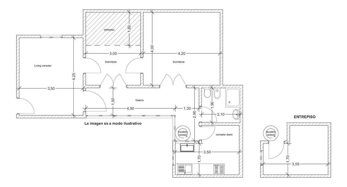 departamento 3 ambientes 1/2 con galería