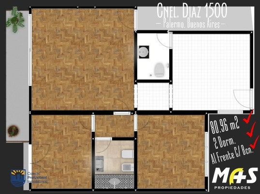 departamento 3 ambientes al frente balcón. zona alto palermo