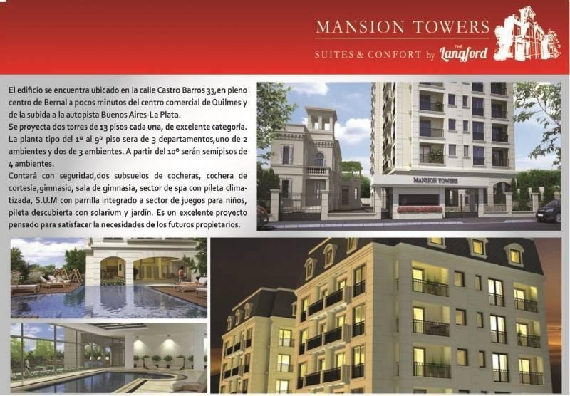 departamento 3 ambientes - bernal centro - mansion tower