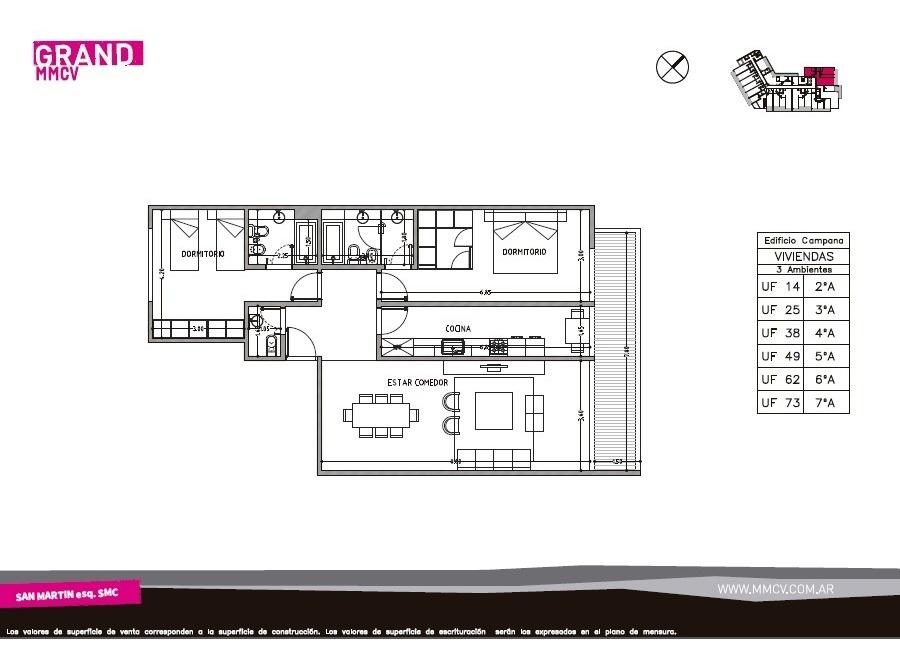 departamento 3 ambientes c/ dos dormitorios en suite