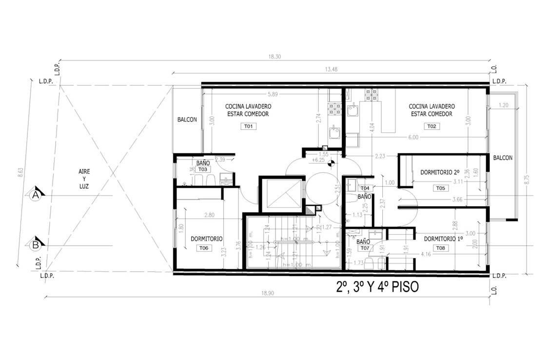 departamento 3 ambientes frente con balcon