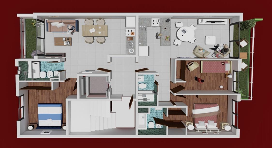 departamento 3 ambientes frente con balcon corrido