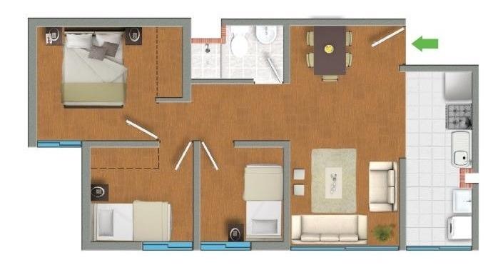 departamento 3 dormitorios condominio los girasoles viva gym