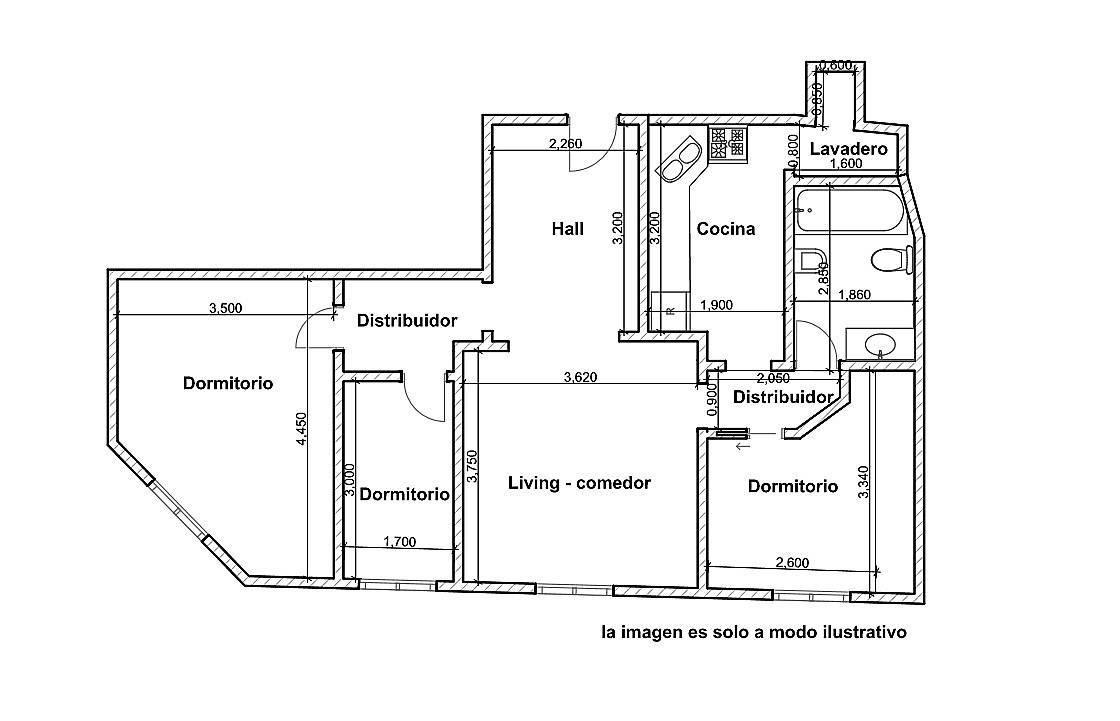 departamento 4 ambientes con dependencia