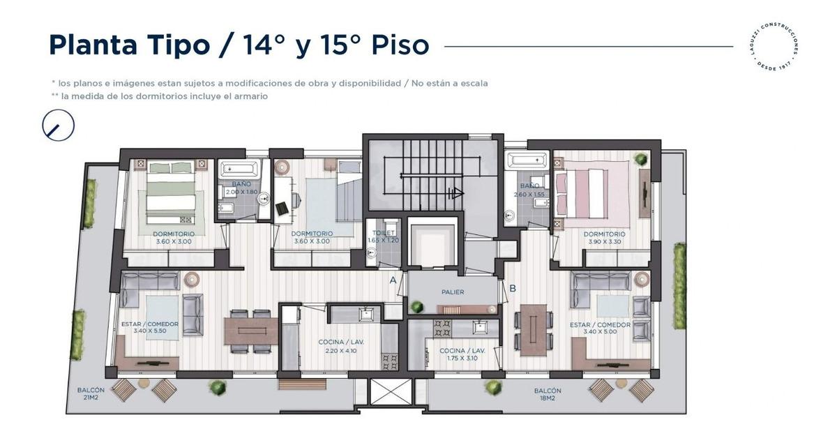departamento a estrenar de 2 ams de 50 m2 más balcón de 18m2