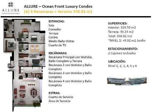 departamento allure en torre norte, puerto cancún. modelo a